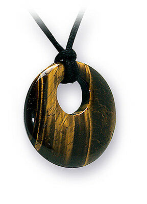 Golden Tigers Eye Donut Ring Crystal Gemstone Cord Necklace For Confidence  • 5.50£