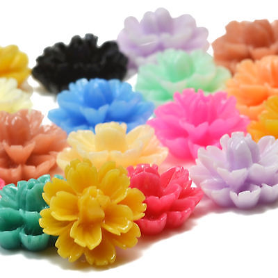 14mm Lucite CARVED RESIN FLOWER Vintage CABOCHON FLATBACK Embellishment Decoden • 1.49£