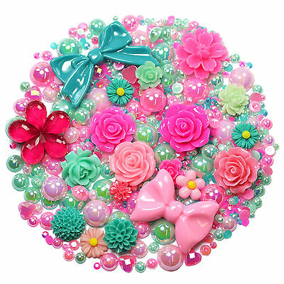 MIX SET Flatback Cabochons SWEET PEA Pearl Diamantes Embellishment Decoden • 5.99£