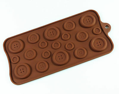 BUTTON Buttons SILICONE MOULD Chocolate Candy Mold Resin Wax Melt Soap Craft • 3.49£