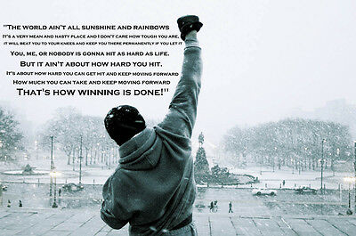 Rocky Balboa Quote Typography Gym Boxing Giant Art Poster - A0 A1 A2 A3 A4 Sizes • 7£