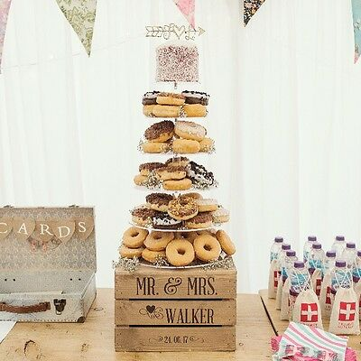 £29.99 • Buy Personalised Rustic Wedding Cake Stand, Vintage Wedding Wooden Crate Cake Stand