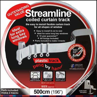 £17.49 • Buy 5mtr (196 ) Bendable Straight & Bay Window Coiled Curtain Track Rail PVC