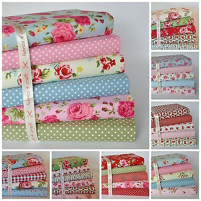 £3.95 • Buy Sewing Fabric Bundles Fat Quarters & Squares 100% Cotton Material Floral Roses