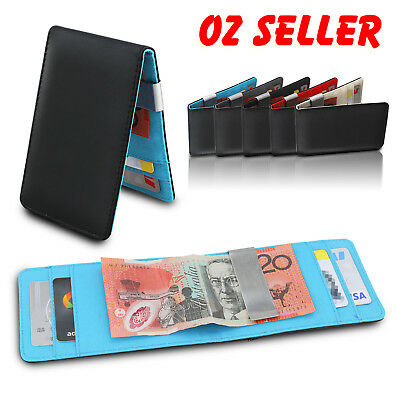 AU7.49 • Buy Wallet Money Clip Mens Womens Black Leather Credit Card Holder Ultra Slim Wallet