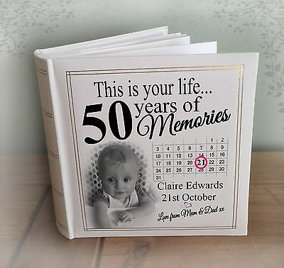 Personalised Large Photo Album, 200 X 7x5  Photos, 50th Birthday Memory Book. • 29.99£