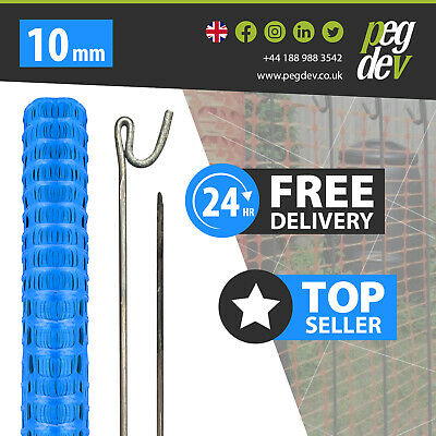 £64.58 • Buy 50M BLUE PLASTIC BARRIER FENCE & 10 METAL FENCING PINS - Temporary Stake Event