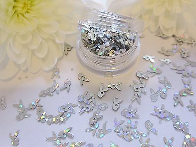 Nail Art Play-boy Design Silver Bunny Holographic Pot Spangle Glitter Decoration • 1.99£