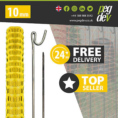 £64.58 • Buy 50M YELLOW PLASTIC BARRIER FENCE & 10 METAL FENCING PINS - Temporary Stake Event