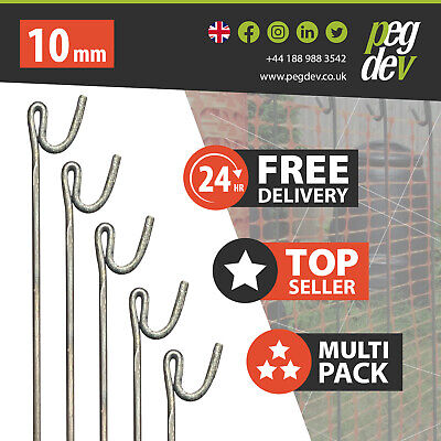 £38.33 • Buy 10 X METAL FENCING PINS 1300 X 10mm - Barrier Fence Stakes Events Temporary