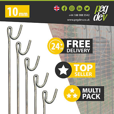 £56.18 • Buy 20 X METAL FENCING PINS 1300 X 10mm - Barrier Fence Stakes Events Temporary