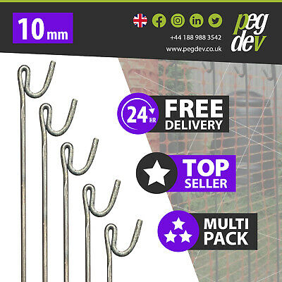 £214.73 • Buy 80 X METAL FENCING PINS 1300 X 10mm - Barrier Fence Stakes Events Temporary