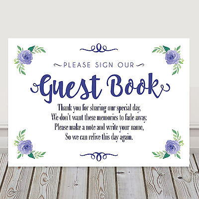 £4.40 • Buy Navy Blue Wedding Guest Book Table Sign Poem For Wishing Tree Or Well 3FOR2 (N1)