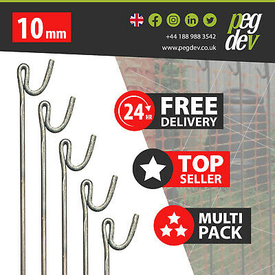 £225.23 • Buy 90 X METAL FENCING PINS 1300 X 10mm - Barrier Fence Stakes Events Temporary