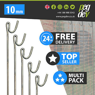 £156.45 • Buy 60 X METAL FENCING PINS 1300 X 10mm - Barrier Fence Stakes Events Temporary