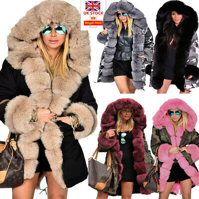 Roiii Women Ladies Winter Long Warm Thick Parka Faux Fur Jacket Hooded Coat 8-20 • 39.98£