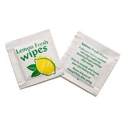 SMALL Lemon Fresh Wet Hand Wipes Towels Hot Cold Individually Wrapped Restaurant • 6.45£