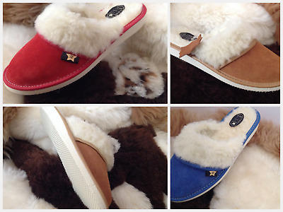 New Ladies 100% Genuine Leather Wool Sheepskin Slipper Cozy Software Home Garden • 7£