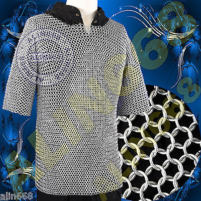 £38 • Buy Medieval Aluminium Chainmail Shirt Butted LARGE Size Chain Mail Role Play Armour