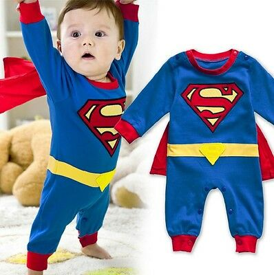 AU13.95 • Buy Baby Boy Girl Superhero Costume Halloween Outfit Romper Superman 00,0,1,2