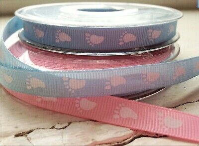 £2.10 • Buy  5 Metres Of Baby Feet/It's A Girl/Boy Etc  Ribbon Pink/Blue, See Listing!