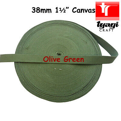 38mm (1.5 ) Heavy Canvas Cotton Belt GREEN Colour Bag Strapping Webbing Tape • 16.99£