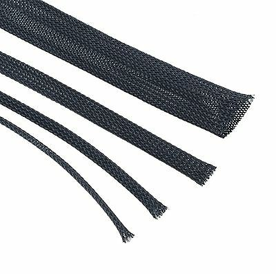 Black Braided Cable Sleeving - Expandable, Wire Harness, Marine, Auto, Sheathing • 1.49£