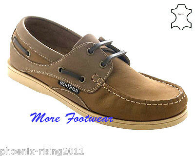 Womens Ladies Tan Leather Yachtsman  Deck Boat Lace Up Shoe Size 3,4,5,6,7,8  • 29.99£