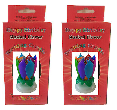 $ CDN21.64 • Buy 2 PACK Rainbow Musical Lotus Flower Exciting Birthday Candle - Cake Candle
