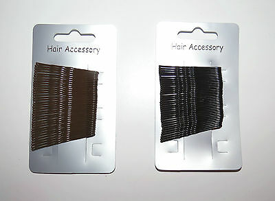 **new** Pack Of 36 Black Brown 4cm Kirby Hairgrips Hair Clips Waved Bobby Pins • 1.85£