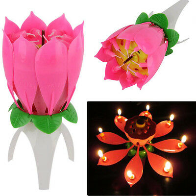 $ CDN3.23 • Buy Magic Cake Birthday Lotus Flower Candle Decoration Blossom Musical Rotating Gift