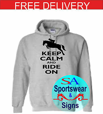 Adults And Kids Horse Jumping Keep Calm And Ride On  Design Hoodie Sizes S-xl • 17.99£