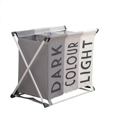 Aluminium Folding Laundry Hamper Basket Triple Section Light & Dark Colour Large • 14.99£