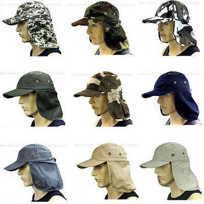 $9.85 • Buy Sun Cap Ear Flap Neck Cover Sun Protection Military Baseball Cap Adjustable Size