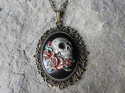 $24.13 • Buy *skull And Roses (hand Painted) Cameo Necklace!!! Quality!!! Grateful Dead