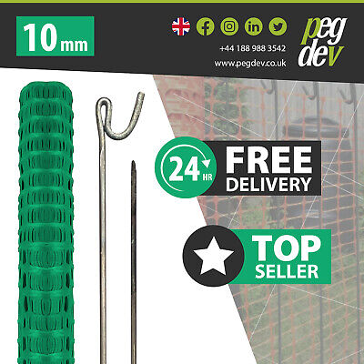 £64.58 • Buy 50M GREEN PLASTIC BARRIER FENCE & 10 METAL FENCING PINS - Temporary Stake Event