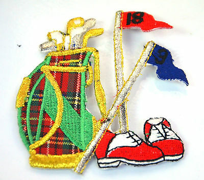 GOLF CLUBS BAG SHOES FLAG   Embroidered Iron Sew On Cloth Patch Badge  APPLIQUE  • 1.45£