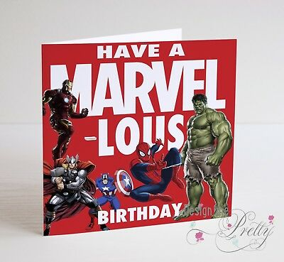 MARVEL COMICS HULK THOR IRON MAN SPIDERMAN Birthday Card - Boys Mens Son • 3.70£