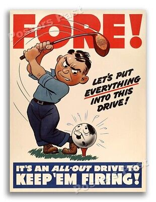 """$11.95 • Buy """"Fore!"""" 1942 Vintage Style Golf World War 2 Poster - 18x24"""