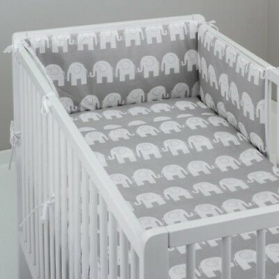 2-10 Pcs Baby Nursery Bedding Set 120x90/135x100/150x120 White Elephants On Grey • 14.99£