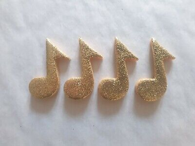 £4.50 • Buy 12 Glittery Gold Music Notes- Edible Sugar Cake Decorations / Toppers