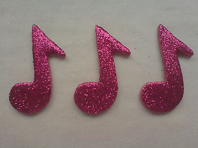 £4.50 • Buy 12 Glittery Raspberry Music Notes- Edible Sugar Cake Decorations / Toppers