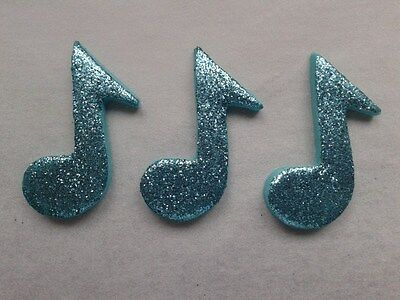 £4.50 • Buy 12 Glittery Turquoise Music Notes- Edible Sugar Cake Decorations / Toppers