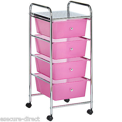 £29.99 • Buy VonHaus Pink 4 Drawer Make Up Mobile Home Office Beauty Salon Storage Trolley
