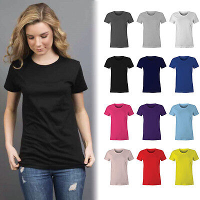 AU6.95 • Buy Womens Plain 100% Cotton T-shirt Blank Basic Women's Ladies Adults Tee | Size 6-