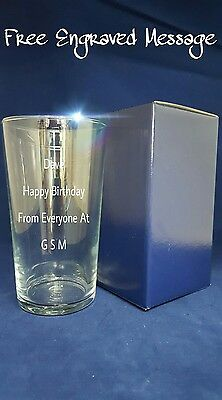 PERSONALISED ENGRAVED PINT BEER GLASS 18th 21st 30th 40th 50th Birthday Gift • 8.20£
