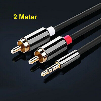 £4.99 • Buy 2M Meter Stereo 3.5mm Jack Audio Plug To 2 X RCA Gold Male Cable Lead PHONO TWIN