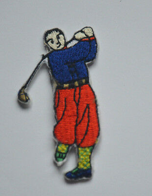 GOLFER GOLF GOLFING 6cm Embroidered Sew Iron On Cloth Patch Badge APPLIQUE • 1.45£