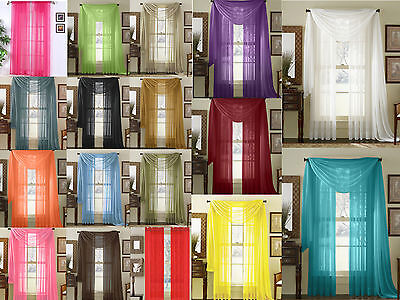 $7.34 • Buy  Empire 2-Piece Sheer Voile Window Treatment Curtain Panel Drapes Solid 84  Long
