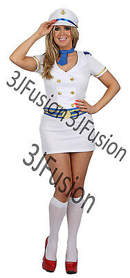 Sailor Girl Fancy Dress Costume Nautical Navy Outfit Hen Party.  Free POST (BH) • 15£